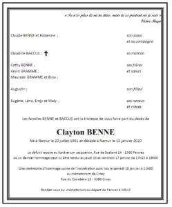 Monsieur Clayton BENNE - faire-part -