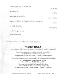 Rosy Martin - Faire-part -